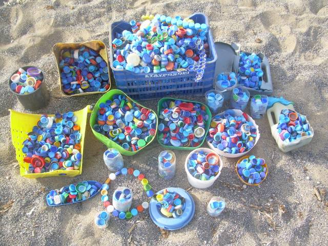 4,000 plastic bottle tops collected in 6 hours, Crete, Greece.