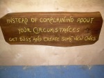 Hand carved/painted quotation plaque.  Walnut.